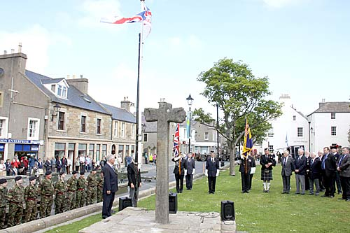 The Armed Forces Day flag raised on Broad Street on Saturday.