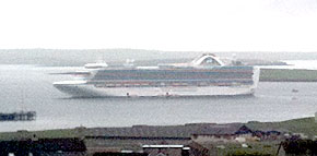 The Crown Princess at anchor in Kirkwall Bay this morning.