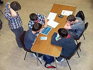 Stromness Academy pupils taking part in Friday's STEM workshops.
