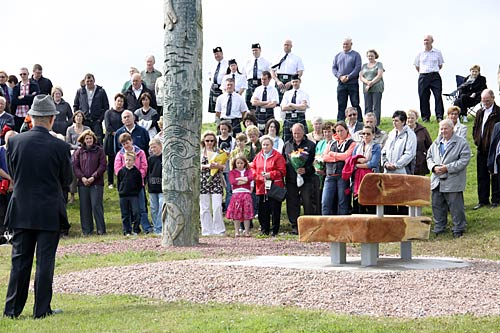 The unveiling ceremony of a bench dedicated to Karen Aim. (The Orcadian/Orkney Media Group)