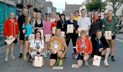 The prizewinners and participants in Wednesday's Wideford Hill race.