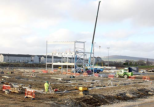 Work begins on the interior steelwork of the new KGS. (The Orcadian)