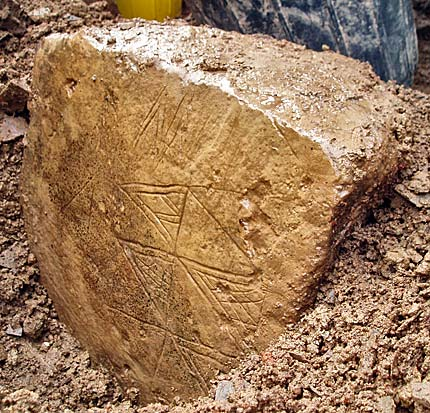 One side of the newly discovered carved stone from the Ness of Brodgar. (Picture: ORCA)