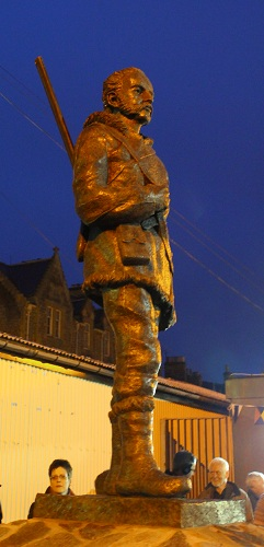 The statue of John Rae, unveiled at the Stromness pierhead on Saturday evening.