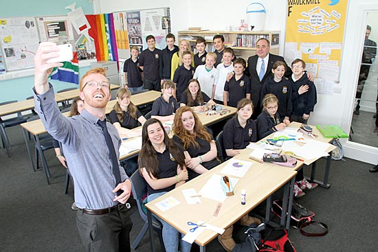 First Minister Alex Salmond joins KGS pupils for a 'selfie' following the school's official opening ceremony this morning. (www.theorcadianphotos.co.uk)