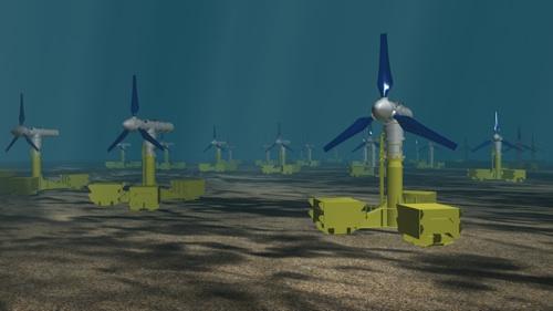 A graphic showing the turbine farm.