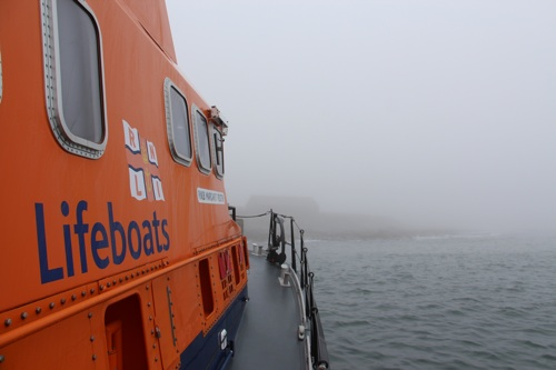 Kirkwall Lifeboat Margaret Foster pictured approaching North Ronaldsay pier this morning. (Picture: Graham Campbell)