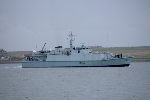 HMS Bangor arriving in Kirkwall Bay this morning. (Picture: Craig Taylor)
