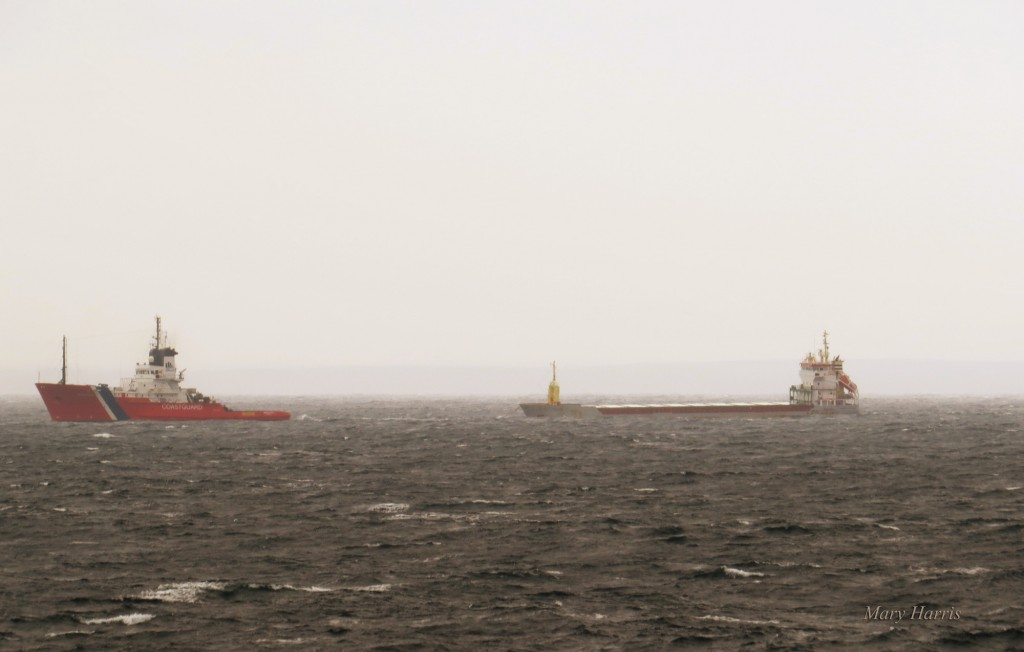 The cargo vessel Nicola was towed into Scapa Flow this afternoon. (Photo: Mary Harris)