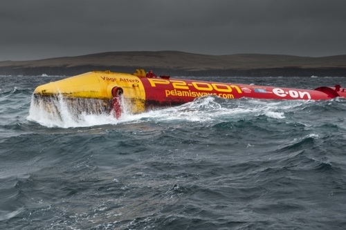 A Pelamis wave energy device off Orkney.