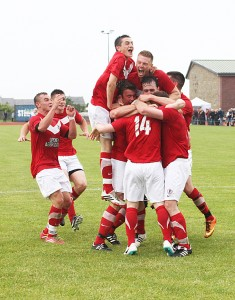 Orkney's footballers celebrate during last year's inter-county clash but ultimately fell just short. Can they do something that no Orkney side in 34 years has done and win in Shetland?