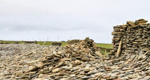 A section of the storm-damaged sheep dyke after the winter storms of 2012.