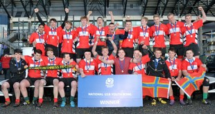 The victorious Orkney and Caithness Under 18 side who were crowned Under 18 Youth Bowl Champions after defeating Dundee Eagles today at Murrayfield.