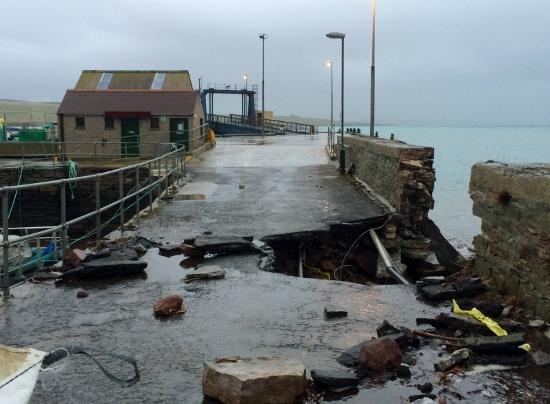 Storm damaged Eday Pier. (Picture: Corrina McCabe)