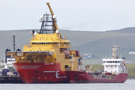 The tanker Vadero Highlander, operated by Simpson Oil, bunkering the Subsea Viking alongside Hatston Pier. (Picture: Andrew Shields)