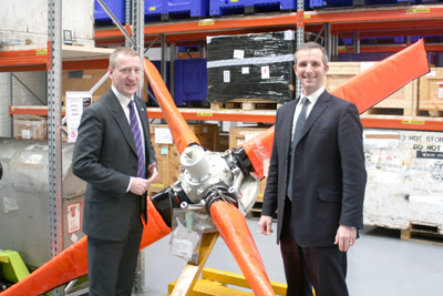 Northern Isles MSPs Tavish Scott and Liam McArthur during their visit to Loganair's 'spares hub' on Wednesday.