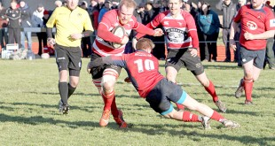 Orkney's captain Alan Brown battles his way through Haddington, with James Linklater in support. (www.theorcadianphotos.co.uk)