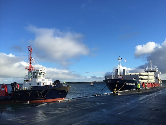 The Orkney Towage tug Einar and the Schokland arriving at Hatston Pier.