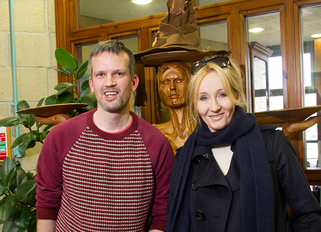 The Orkney Library's Stewart Bain with J. K. Rowling today.