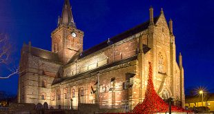 A night-time view of the The 'Weeping Window' installation at St Magnus Cathedral. (www.theorcadianphotos.co.uk)