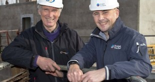 Richard Darbyshire, Orkney Regional Production Manager with Scottish Sea Farms (right) and John Offord, Managing Director of Gael Force Group.