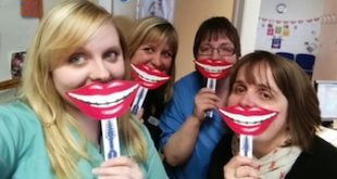 The Public Dental Service Oral Health Team showing their best 'smiley selfie'. L-R is Kayleigh Kelday, Donna Shearer, Muriel Louden and Karyn Tait.