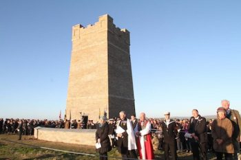 The scene during the memorial service at Marwick Head.