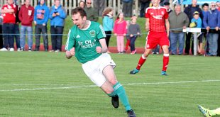 David Delday shows his delight as he scores the second of Thorfinn's goals on a memorable evening at the Pickaquoy.