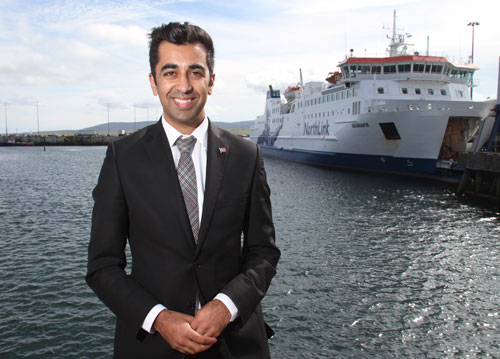 Islands minister Humza Yousaf during his visit to Orkney