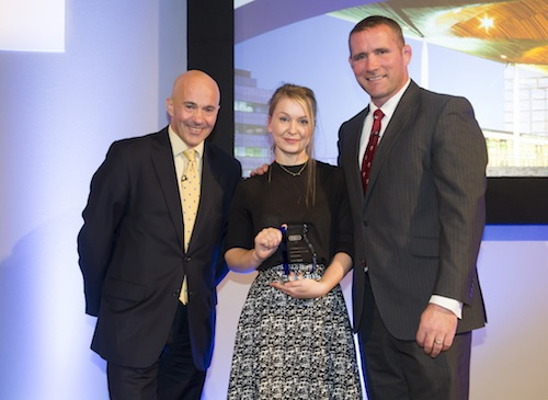 Orkney Mason Sophie Turner, with CITB CEO Adrian Belton (left), and Presenter, Phil Vickery.