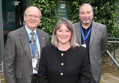 Councillor Bill Stout (left) with fellow Orkney Manifesto Group members Councillors Rachael King and John Richards. (www.theorcadianphotos.co.uk)