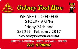 Tool Hire - Closed for stock take 24-25 February.