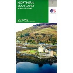 Northern Scotland, Orkney & Shetland - 1 - OS Road Map