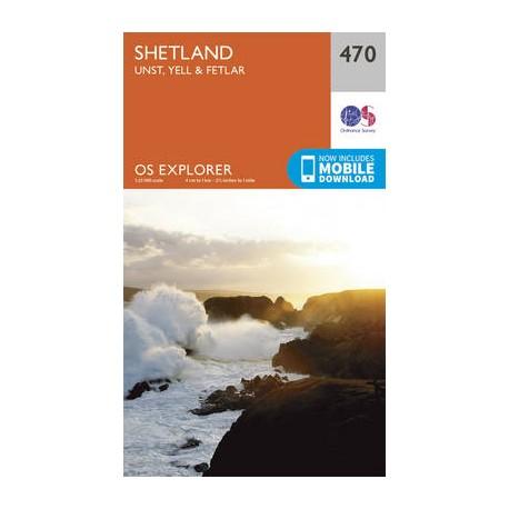 Shetland - Unst, Yell and Fetlar - 470 - OS Explorer Map