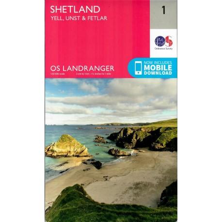 Shetland - Yell, Unst and Fetlar - 1 - OS Landranger Map
