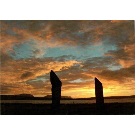 Orkney Card - Sunset Over the Standing Stones of Stenness