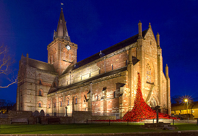 St Magnus Cathedral Lights Up Red In Support Of Poppy