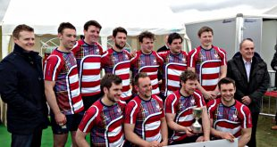 Pictured alongside Stephen Kemp (left) and Charlie Kemp (right) of sponsors Orkney Builders Contractors Ltd, Peebles won a first Sevens title since 2008.
