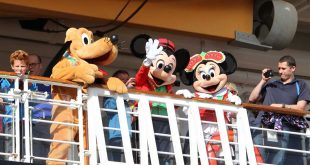 Pluto, Mickey and Minnie were among those who entertained from the decks of The 'Disney Magic' cruise liner.