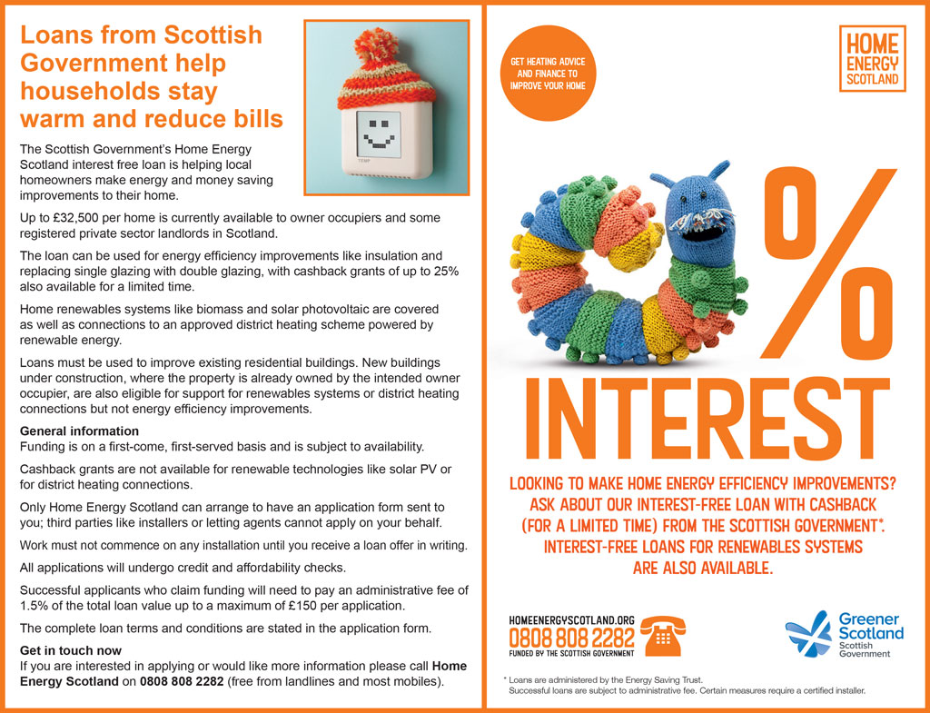 Home Energy Scotland - Loans from Scottish Government help households stay warm and reduce bills
