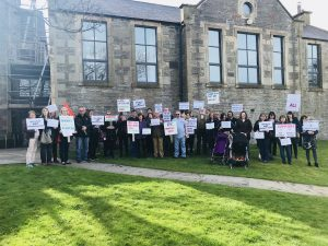 Demonstration held against support for learning cuts