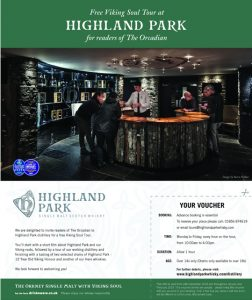 Free Highland Park tour for The Orcadian readers