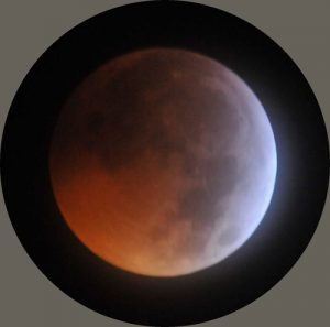 Lunar eclipse observed from Rousay